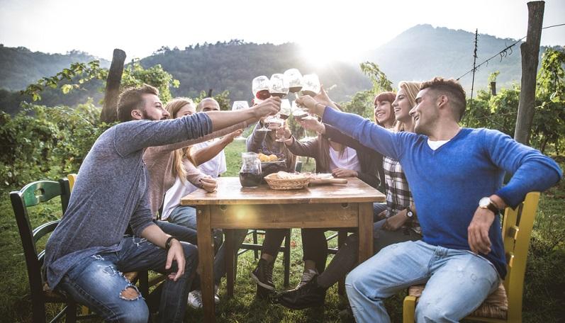 Weinprobe als Abschluss der Rotweinwanderung.